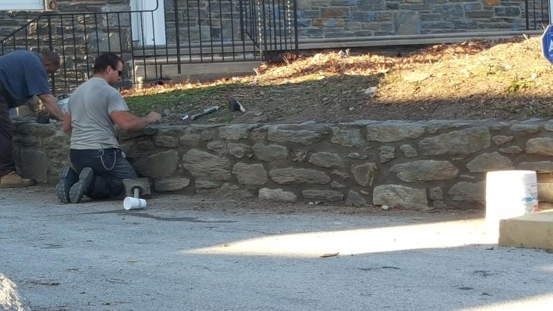 New Stacked Stone Retaining Wall in Villanova PA